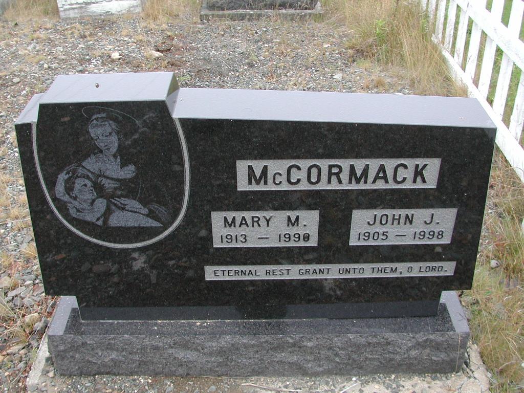 MCCORMACK, John J (1998) & Mary M (1990) SJP01-7416