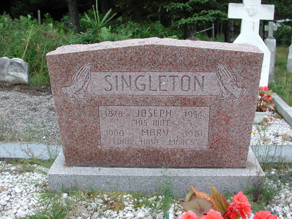 SINGLETON, Joseph (1954) & Mary (1981) SJP01-1683