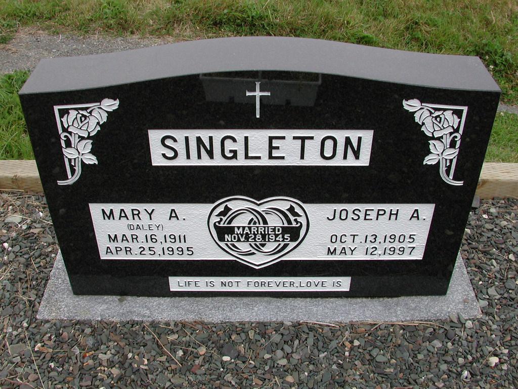 SINGLETON, Joseph A (1997) & Mary A Daley SJP01-7432