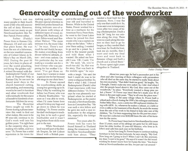 An interesting article on Father (Paddy) Power in the Shoreline, March 2011.
