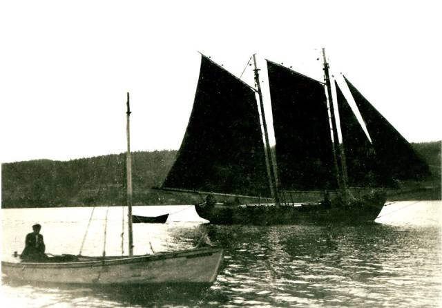 The historic schooner Hero owned by John Gough, father of Michael. The man in the skiff is said to be Jack Fagan