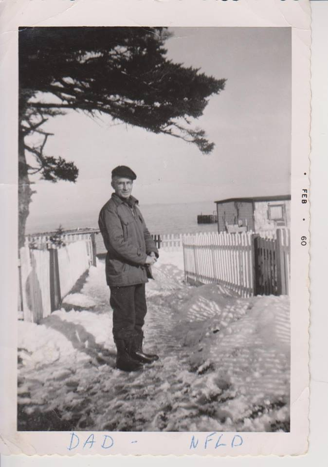 thumbnail_From Kay (Power) McNeill's collection. Grandpa David Power in front of the Power family home on Colinet Island, Feb 1960. Fr. Val's Father