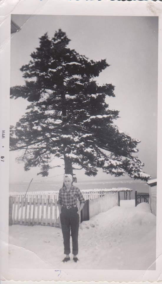 thumbnail_This is Aunt Matilda (Power) Linehan Mar 1957. Looking at the tree and the picket fence, I'd say this is in front of the Power family home on the island. Aunt Matilda would have been 23 or 24 at the time.