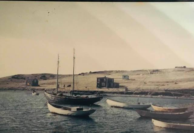 In this photo, which was taken in the early 50's, is Dad's schooner and his grandparents house, Jim Dalton and Theresa (Kelly) Dalton.