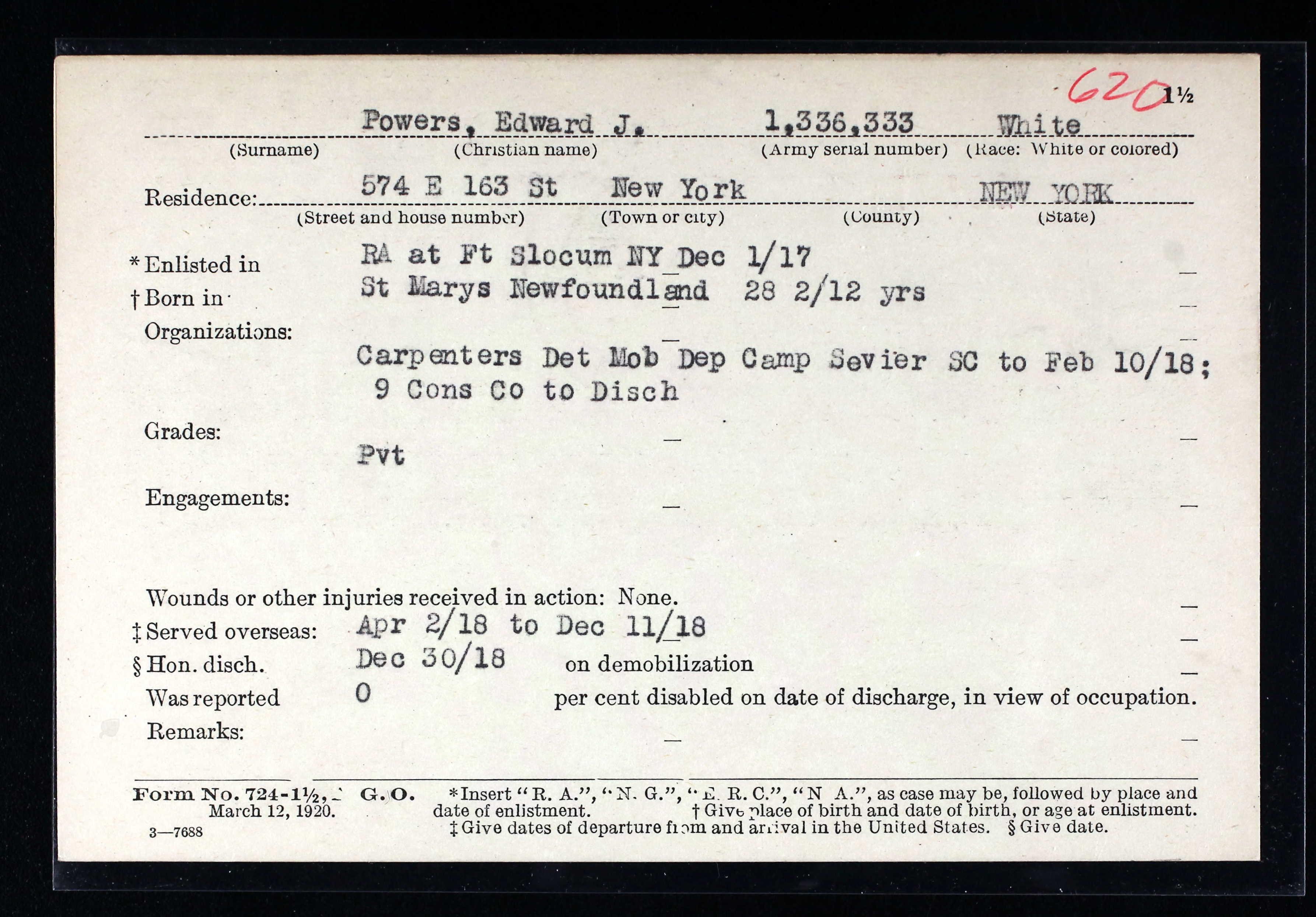 Edward J. Power # 1,336,333 USA military WW1