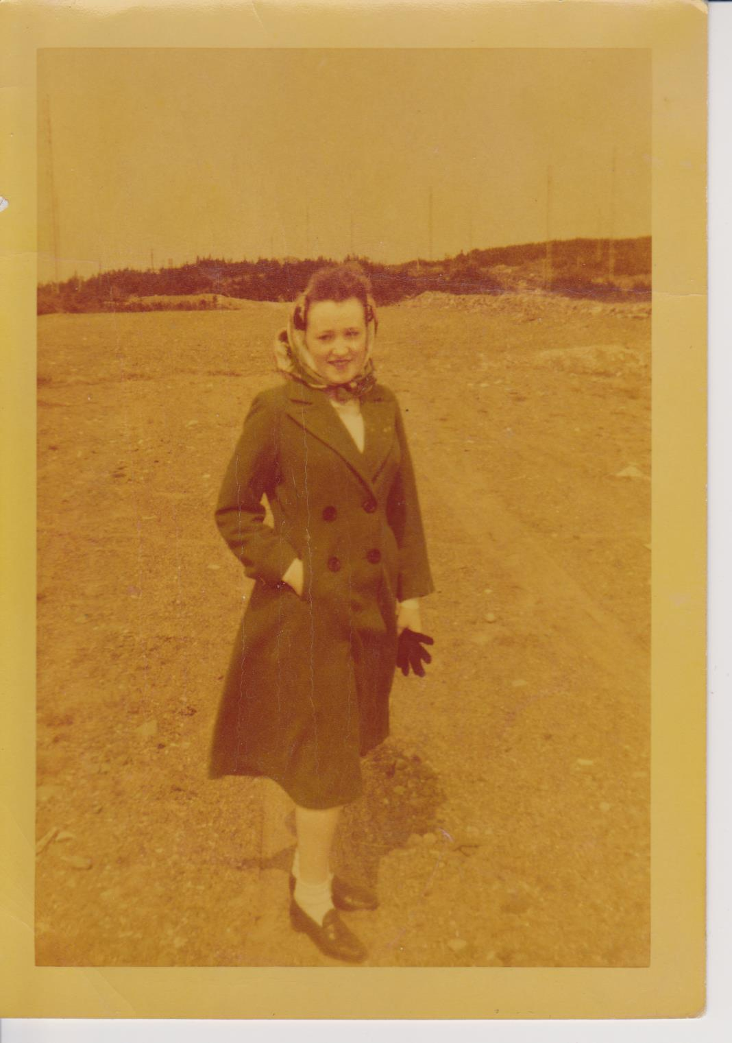 Kay McNeill-nee Power wearing her WW 2 Army-Navy outfit